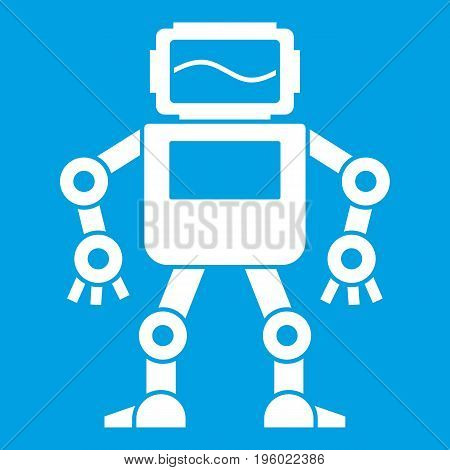 Automatic mechanism with with monitor head icon white isolated on blue background vector illustration