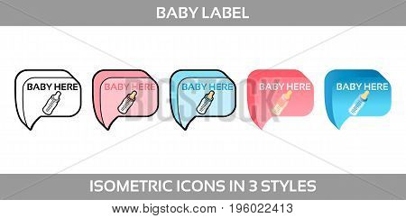 Simple Vector Icons of a classic label baby is here for a boy and a girl in three styles. Isometric, flat and line art icons.