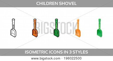 Simple Vector Icons of a baby sand shovel for a boy and a girl in three styles. Isometric, flat and line art icons.
