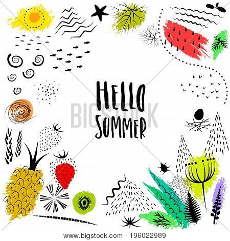 Vector hand drawn colorful summer frame with lettering
