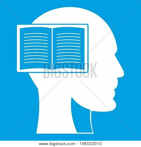Head with open book icon white isolated on blue background vector illustration