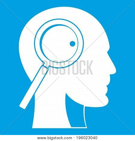 Magnifying glass in head icon white isolated on blue background vector illustration