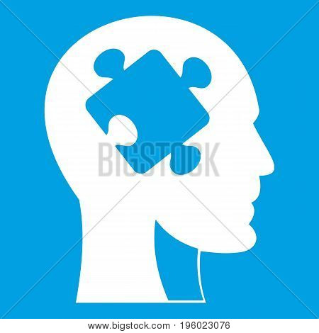 Head with puzzle icon white isolated on blue background vector illustration