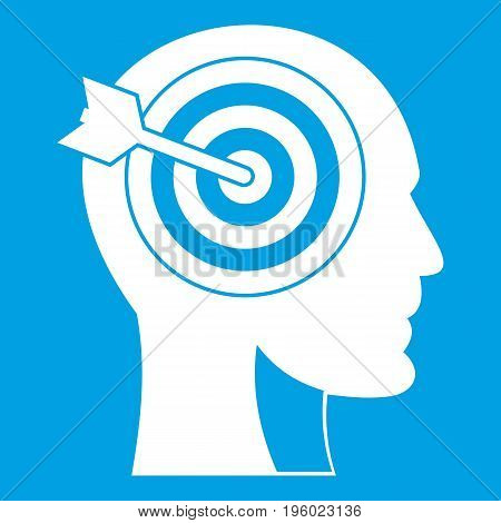 Target in human head icon white isolated on blue background vector illustration