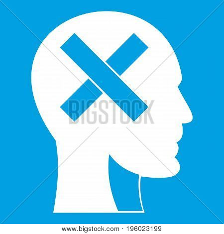 Human head with cross inside icon white isolated on blue background vector illustration