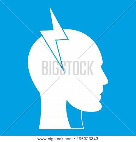 Lightning bolt inside head icon white isolated on blue background vector illustration
