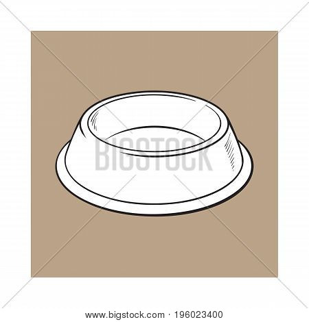 Empty green shiny plastic bowl for pet, cat, dog food, black and white sketch style vector illustration isolated on brown background. Hand drawn empty bowl, plate for pet, dog, cat food