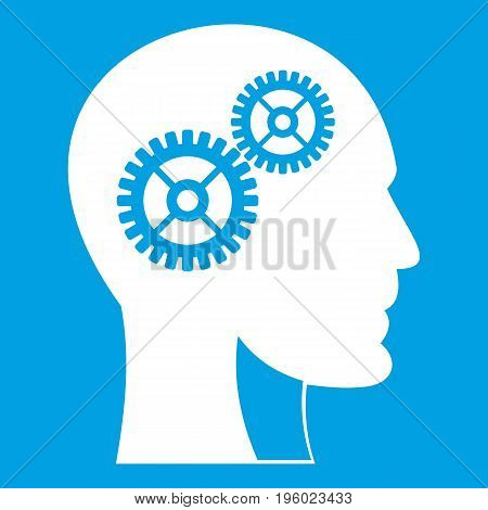 Gears in human head icon white isolated on blue background vector illustration