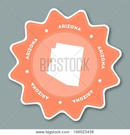 Arizona Map Sticker In Trendy Colors. Travel Sticker With Us State Name And Map. Can Be Used As Logo