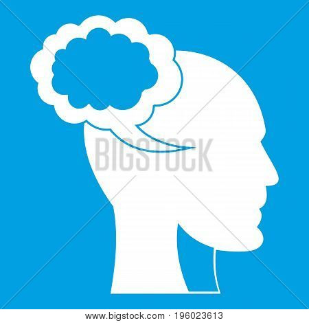 Speech bubble with human head icon white isolated on blue background vector illustration