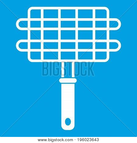 Stainless barbecue grill camping basket icon white isolated on blue background vector illustration