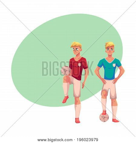 Handsome blond soccer player standing with football ball, cartoon vector illustration with space for text. Full length portrait of professional soccer player kicking it up with knee