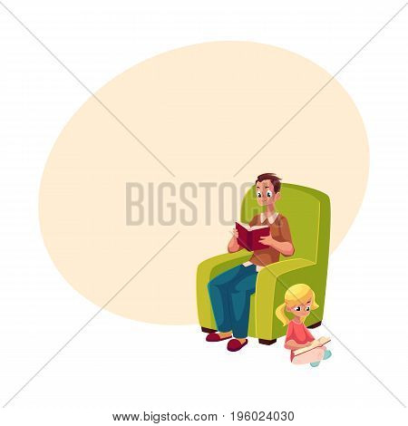Young man sitting in comfortable armchair and little girl reading books sitting legs crossed on the floor, cartoon vector illustration with space for text. father and daugther reading