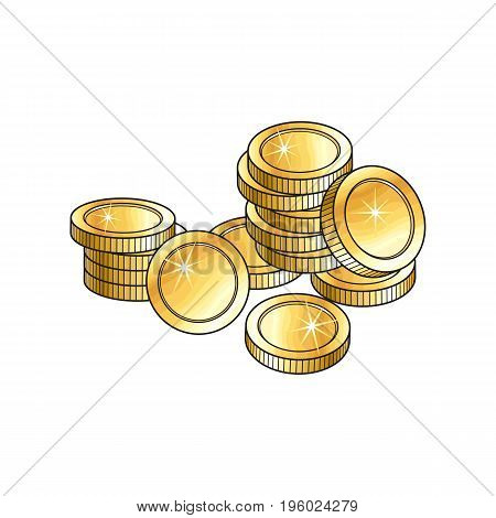 Pile, heap of shiny blank, unlabeled gold coins, sketch vector illustration isolated on white background. Realistic hand drawing of blank, unlabeled golden coins stacked in pile, money symbol