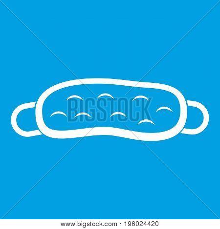 Sleeping mask icon white isolated on blue background vector illustration