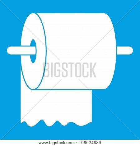 Roll of toilet paper on holder icon white isolated on blue background vector illustration