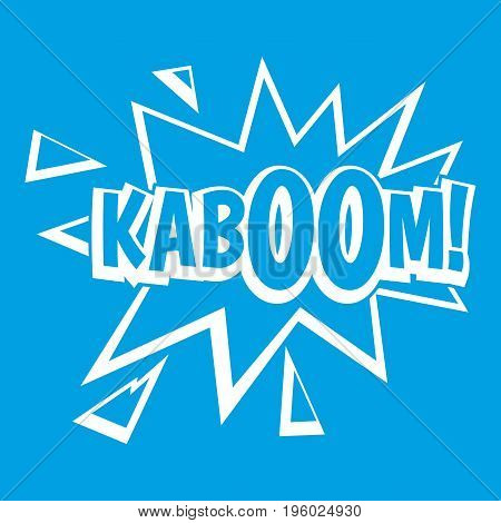 Kaboom, explosion icon white isolated on blue background vector illustration