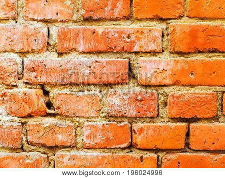 Abstract Background Old White Brick Wall With Cracks And Scratches. Landscape Style. Great Backgroun