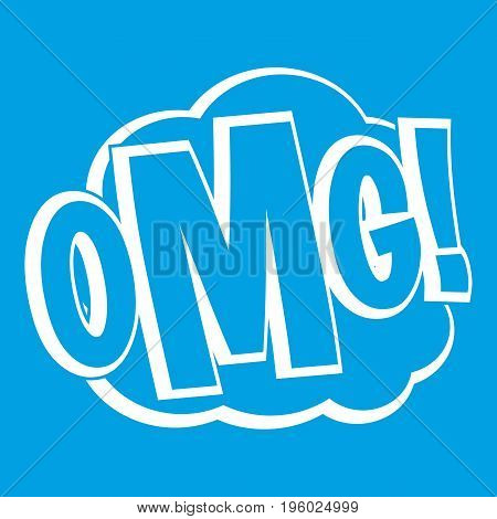 OMG, comic text speech bubble icon white isolated on blue background vector illustration