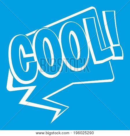 COOL, comic text speech bubble icon white isolated on blue background vector illustration