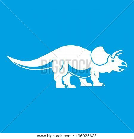 Styracosaurus icon white isolated on blue background vector illustration