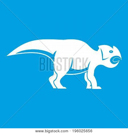 Ceratopsians dinosaur icon white isolated on blue background vector illustration