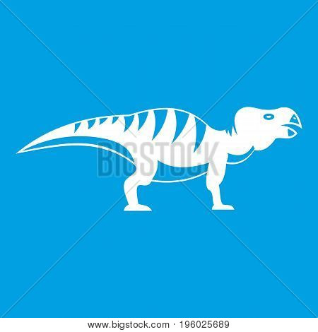Hadrosaurid dinosaur icon white isolated on blue background vector illustration