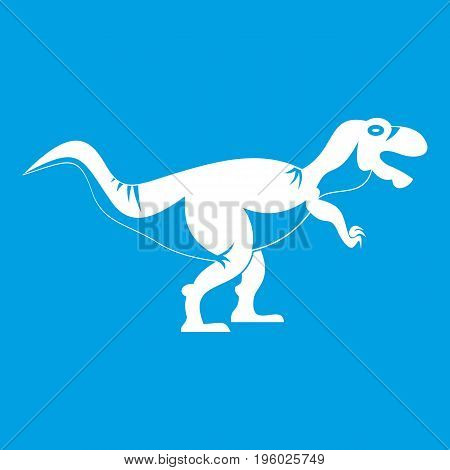 Tyrannosaur dinosaur icon white isolated on blue background vector illustration