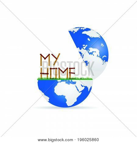 globe with home icon wooden illustration on white