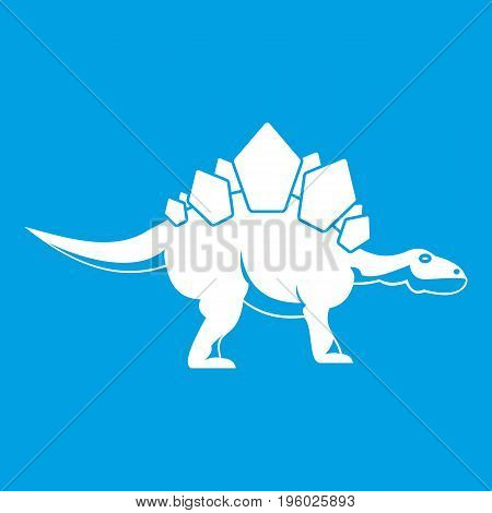 Stegosaurus dinosaur icon white isolated on blue background vector illustration