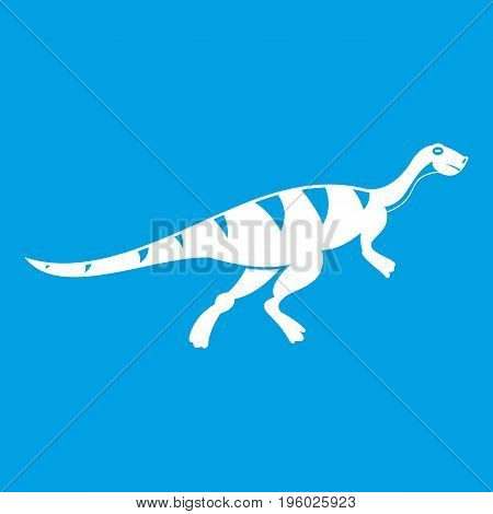Gallimimus dinosaur icon white isolated on blue background vector illustration