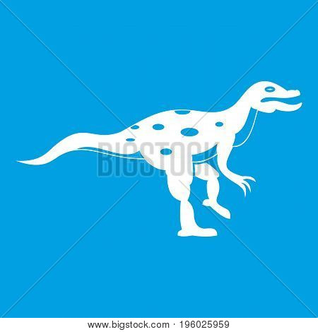 Ornithopod dinosaur icon white isolated on blue background vector illustration