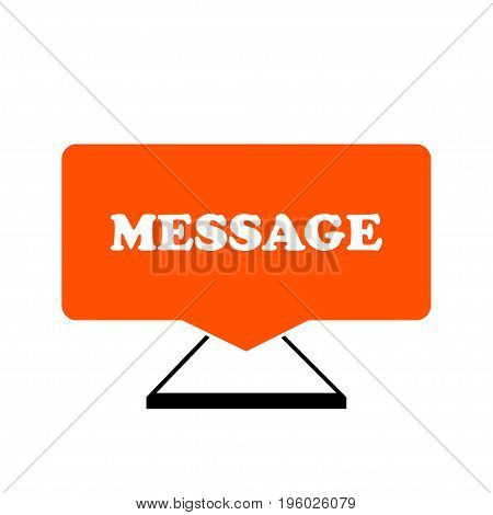 Mobile phone with icon message on a white background