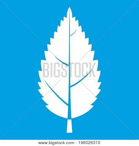 Hornbeam leaf icon white isolated on blue background vector illustration