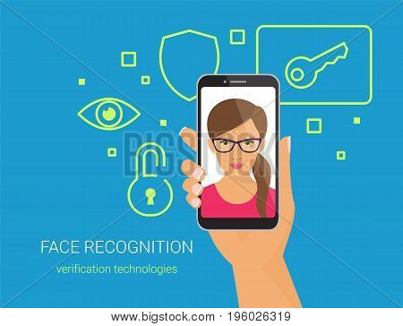 Face recognition and mobile identification. Flat vector illustration of woman with glasses unlocking his smartphone by face recognition technology. Human hand holds mobile phone with face on screen