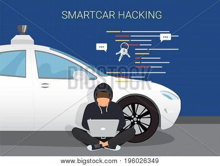 Smart car hacking attack. Flat vector illustration of young hacker sitting near white car and using laptop to hack smartcar protection system. young man with code symbols on blue background