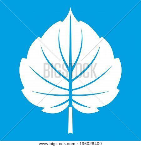 Alder leaf icon white isolated on blue background vector illustration