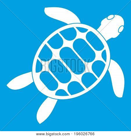 Turtle icon white isolated on blue background vector illustration