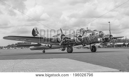 PETERBOROUGH ON CANADA - July 162017: Vintage B-17 Flying Fortress bomber taxis to the Peterborough airport. The aircraft is on display during local Canada 150 anniversary celebrations.