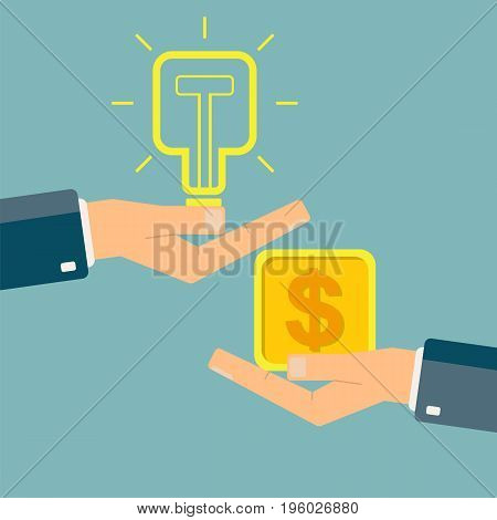 Businessman's hands buy and sell new idea. Square bulb. Vector illustration