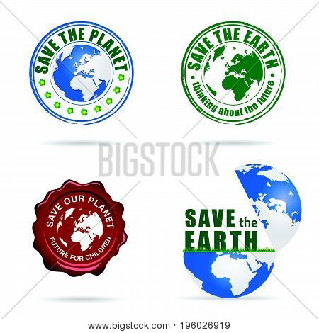 Save Planet Earth Sign Set Illustration
