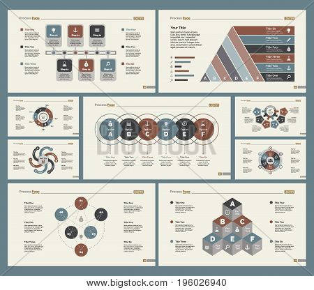 Infographic design set can be used for workflow layout, diagram, annual report, presentation, web design. Business and management concept with process and doughnut charts.