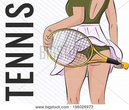 Vector sport girl illustration Tennis athlete woman with sexy butt and racket. Fitness player swag clipart. Slim temptation print