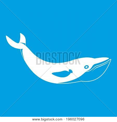Whale icon white isolated on blue background vector illustration