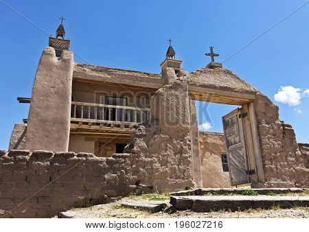 A Historic Church San José de Gracia on the main plaza of Las Trampas New Mexico Built in 1760