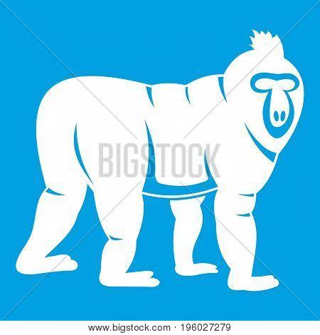 Mandrill monkey icon white isolated on blue background vector illustration