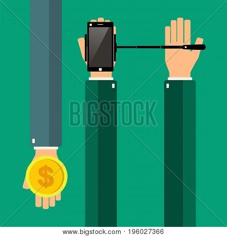 Hands holding a smartphone with selfie stick. Buying selfie stick. Vector illustration.