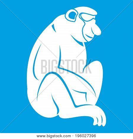 Orangutan icon white isolated on blue background vector illustration