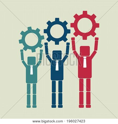 Teamwork concept. Business people push up gears. Vector illustration.