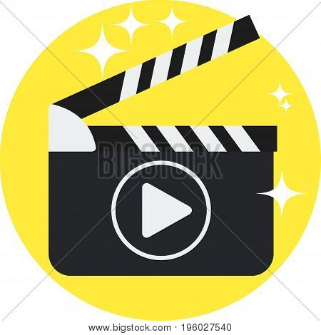 Black open clapperboard. Movie clapper board. Movie logo. Flat vector cartoon illustration.